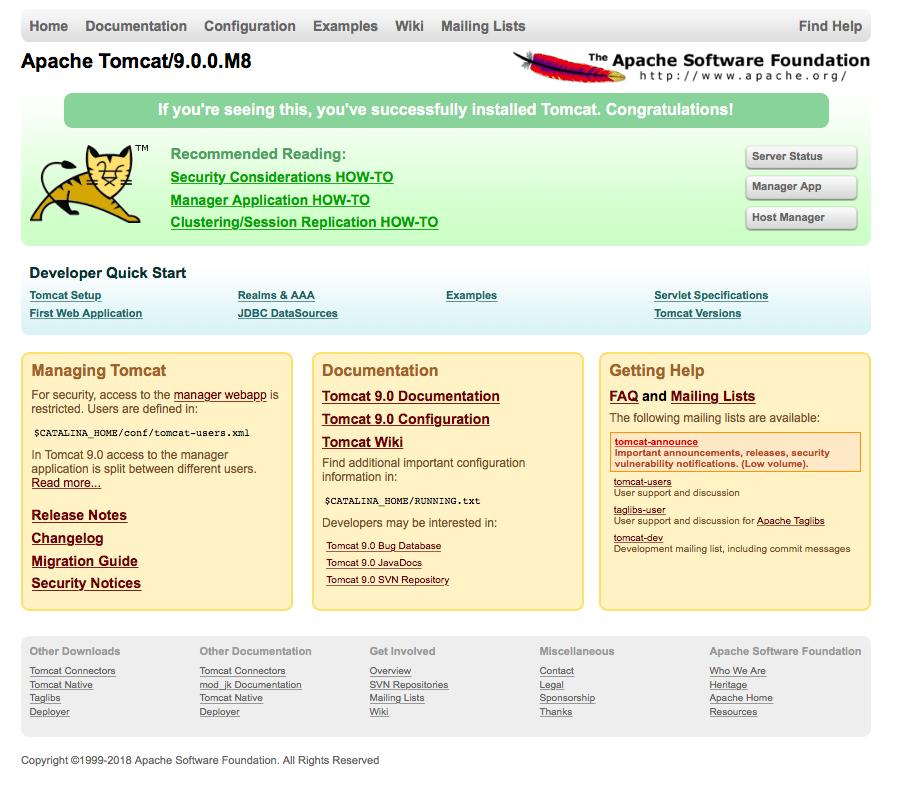 Tomcat 9 - Default Webpage